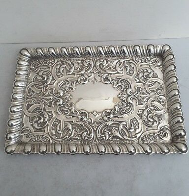 Pretty Antique Solid Silver Embossed Dressing Tray.    221Gms.    Birm. 1905.