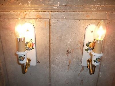 French a pair of porcelain wall light sconces beautiful antique / vintage marked