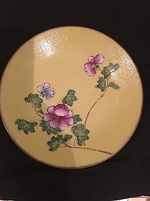 Vintage Antique Chinese Yellow Plate with Pink Flowers 8 in Blue Mark