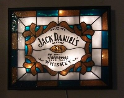 Jack Daniels  Inspired Bar Sign Stained Glass Look Lighted Hand Painted