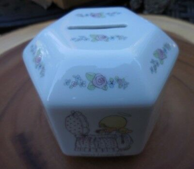 Precious Moments BIBLE VERSES BANK Ceramic 6 Sided VINTAGE 1987 6 Six Sided
