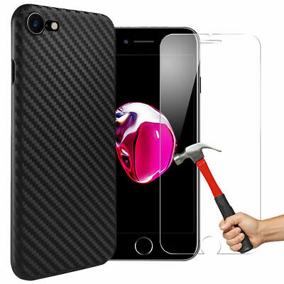COQUE HOUSSE CARBONE IPHONE 8 7 6 SE 5s XR X XS MAX+PROTECTION FILM VERRE TREMPE