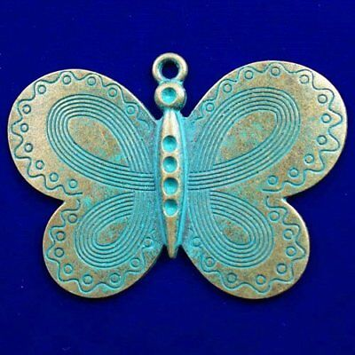Carved Brass Bronze Butterfly Pendant Bead 63x43x3mm L40507
