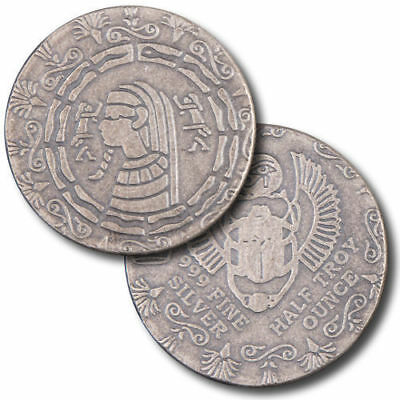 1/2 oz .999 Silver Monarch scarab Egyptian Rounds New ancient