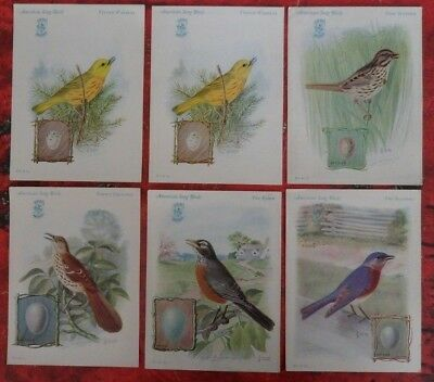 6 Antique Singer Sewing Machine Song Birds Trade Cards