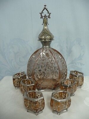 ORNATE ANTIQUE ROSE COLORED DECANTER w/SILVER OVERLAY  & 6 MATCHING CUPS