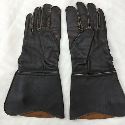 """Vintage Motorcycle Gauntlet Gloves """"Superia"""" size 8 1/2 Police /Government issue"""