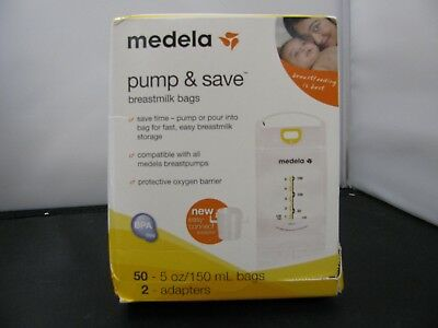 Medela Pump and Save Breast Milk Bags, 50 Count New Sealed - C8