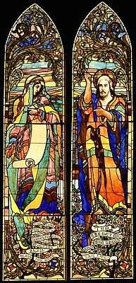 Antique Victorian Jeweled Sibyl And Jesus Stained Glass Window Pair