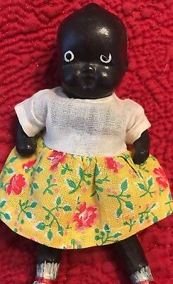 "African Americans Black Bisque Jointed Baby Doll figurine 4 1/2"" Red Shoes"