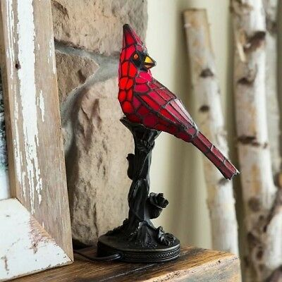Accent Table Lamp Stained Glass Lamps Tiffany Style Lighting Desk Light Bird Red