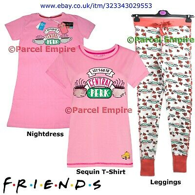 Primark Official FRIENDS Sequin T-Shirt Pyjamas Roses Leggings PJ Central Perk