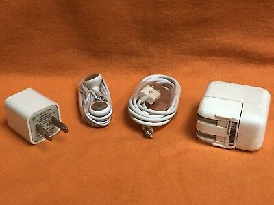 iPHONE USB LIGHTING CABLE 3'' CORD HEADSET CUBE & WALL CHARGER 5's 6's 7's & 8's