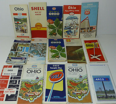 Lot 16 VINTAGE Road Maps of OHIO FLEET-WING GULF OIL HUMBLE SHELL SOHIO 1950's