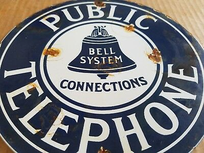 Vintage Public Telephone Bell System Porcelain Sign Call Phone Old train station