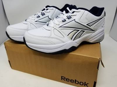 87248fa102b REEBOK MENS ROYAL Trainer Shoes White Collegiate Navy Silver 8 4E ...