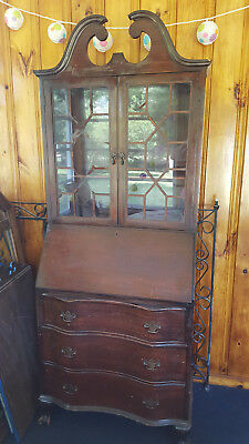 "Antique Wood Secretary Desk Cabinet Hutch Bookcase Has Key 76"" tall, 29"" wide"