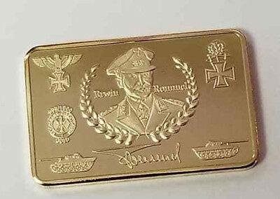 WW2 WWII German Afrika Korp Commemorative war coin BAR Gold plated 1944