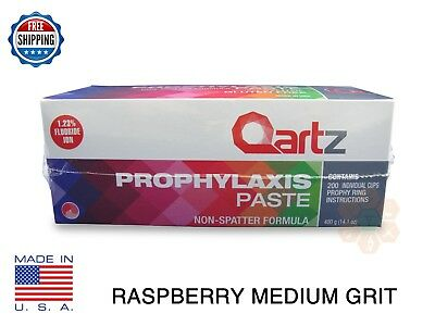 Qartz Prophy Paste Cups Raspberry Medium 200/box  Dental Non Splatter W/flouride