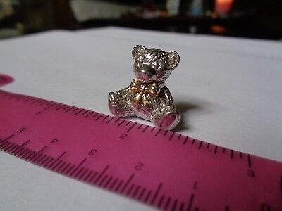 Estate 925 Sterling Silver & 18K Yellow Gold 2003 Benny Bear Pendant 5.7 Grams