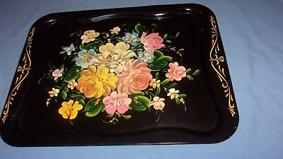 Vtg Large Tole Metal Serving Tray Black Roses 20 1/2 x 16 Inches