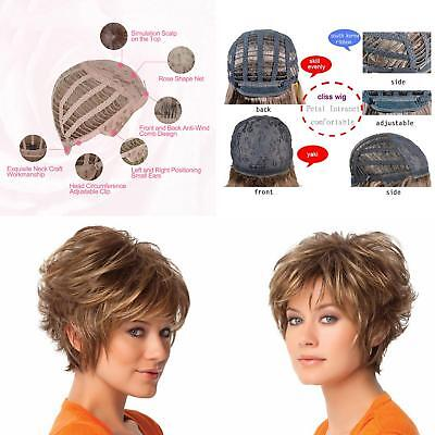 Women's Brown Short Curly Hair Full Wig Synthetic Ladies Cosplay Hairpiece AU