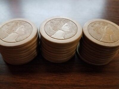 Old Clay Poker Chips 28 Antique Lady Face White Tan