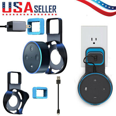 Outlet Wall Mount Hanger Holder Stand Bracket With Cable For Amazon Echo Dot 2