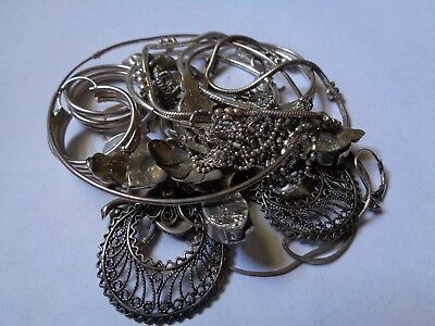 Estate 925 Sterling Silver Scrap Recovery Refine Mixed Jewelry Lot 80.3 Grams