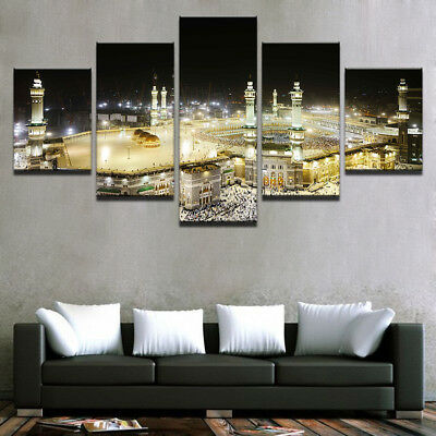 Framed Home Decor Islamic Muslim Mosque Mecca Canvas Prints Painting Wall Art 5P