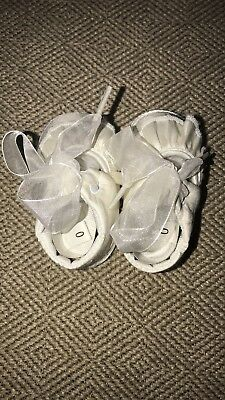 New Baby Girls White Satin & Organza Booties Dress Shoes Christening Baptism 3 M