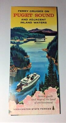 Ferry Cruises On Puget Sound Vintage Vacation Brochure
