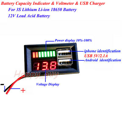 LED Lead Acid Lithium Battery BMS Capacity Indicator Voltmeter Dual USB Charger