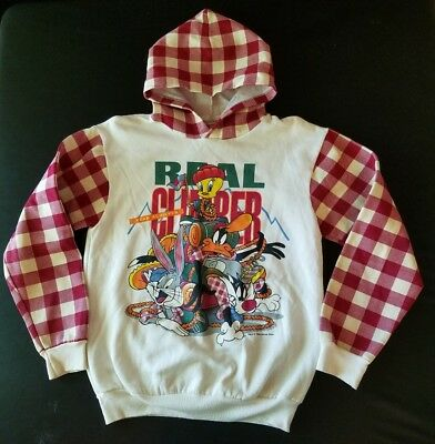 "Vintage 1994 Warner Bros Looney Tunes Hoodie, ""Real Climber"", Youth Sz M"