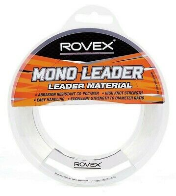 100m Spool of Rovex Monofilament Fishing Leader - Clear Mono Leader Line