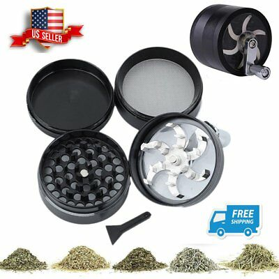 4 Piece Magnetic Tobacco Herb Smoke Grinder Spice Zinc Alloy Hand Crank Crusher