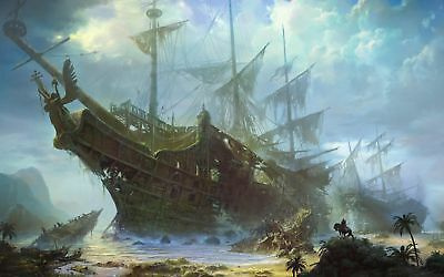 Home Decor HD print oil painting on canvas Fantasy art of sailing ship L50