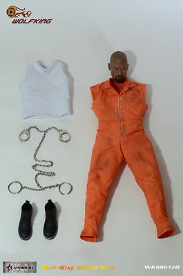 Wolf King 1:6 Inmate Jump Suit & Head Action Figure Accessory Dao 89012B