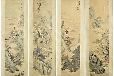 Fine Chinese Set Of 4 Scroll Paintings On Paper Signed Wu Li(1632-1718)