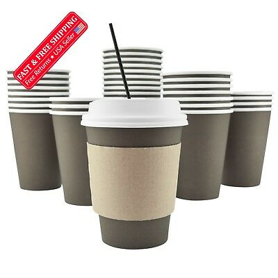 100 Pack - 12 Oz Disposable Hot Paper Coffee Cups, Lids, Sleeves, Stirring