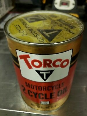 Vintage Torco Racing High Performance full Cardboard Oil Can Motorcycycle T2
