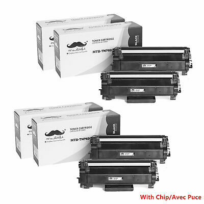 4PK TN760 Black Toner Cartridge With Chip For Brother HL-L2350DW MFC-L2710DW