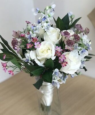 Artificial Wedding Bouquet, Bride, Bridal, Rose, Delphinium, Wax Flower Display