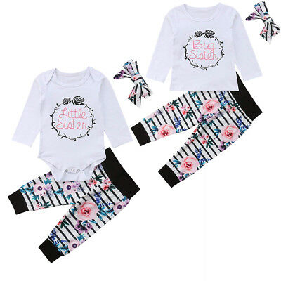 UK Infant Baby Girl Little Big Sister Match Jumpsuit Romper Pant Headband Outfit