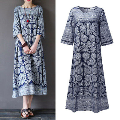Women Casual Vintage Swing A-Line Long Maxi Kaftan Plus Size Print Floral Dress