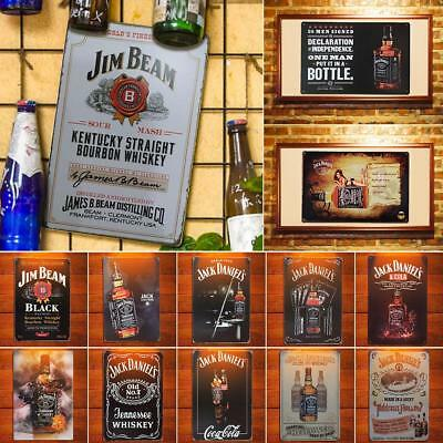 Retro Beer Jack Daniels Whiskey Metal Poster Wall Art Painting Plaque Signs Gift