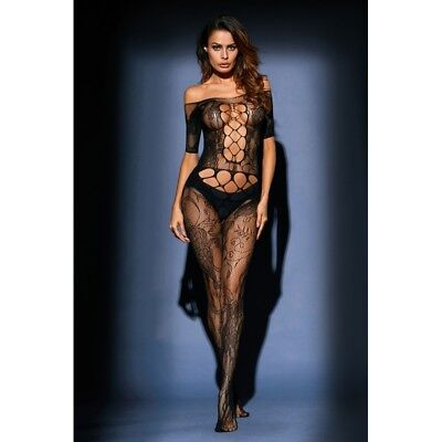 Sexy Lingerie Black Body Stocking Open Crotch BodySuit Plus Size Cut Out Sleeve