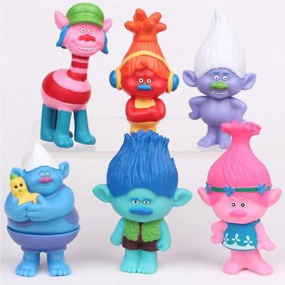 Lot of 6 DreamWorks Trolls Poppy Doll Mini Figures Collectable Doll cake toppers