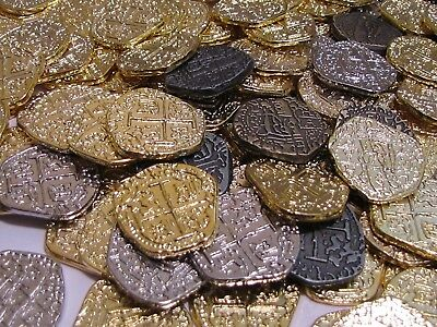 Pirate Treasure Coins Pack Of 30 Metal Gold and Silver Doubloon Replicas
