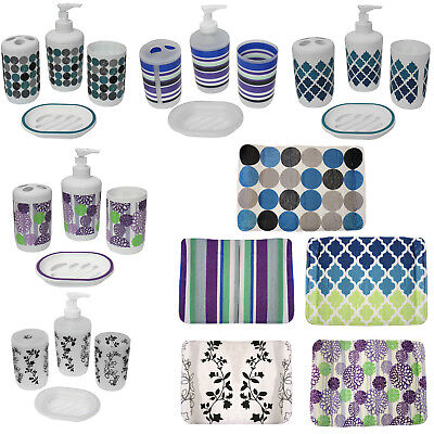 7 Piece Plastic Bathroom Accessories Set Mat and Toilet Sets With Shower Curtain